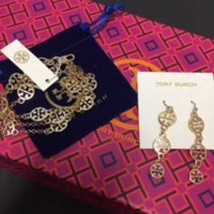 Tory Burch 16k Gold PL Dangle Drop Earrings NEW